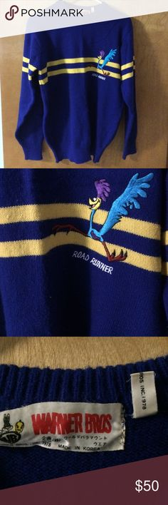 """Vintage 1978 Road Runner Sweater. Beep! Beep! Road Runner sweater blue with yellow jersey striped. Amazing vibrant colors. Well made. Tag says 1978. It does have piling. After all it is decades old. Still fits great. Measures: 20"""" chest. 26"""" length. 23"""" sleeve. Unisex. Prob md or large womens and small to med mans. Vintage Sweaters Crew & Scoop Necks"""