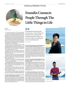 Foundin Connects People Through The Little Things in Life (pg 1/2) --- Epoch Times, Singapore Edition (Issue 486, May 9 - May 22, 2014)