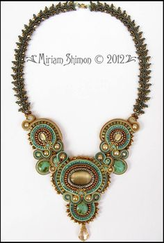 Soutache necklace in Mint, Cream, Chocolate and Light Blue