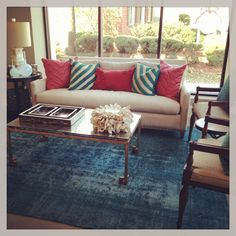 Great Accents. Turquoise overdye rug.