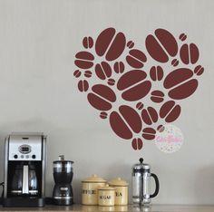 vinilo decorativo pared cocina, amor, corazon, granos de cafe, coffe