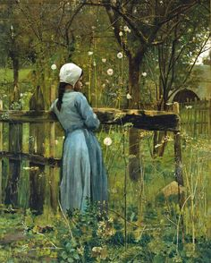 William Stott of Oldham (1857 - 1900) - Girl in a meadow, 1880