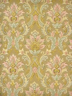 Original vintage retro baroque wallpaper with an elegant baroque pattern in pink, and green color. Romantic wallpaper for a living room, foyer or bedroom. 60s Wallpaper, American Wallpaper, Paradise Wallpaper, Kitchen Wallpaper, Vinyl Wallpaper, Wallpaper Backgrounds, Bedroom Wallpaper, Textile Prints, Textile Patterns