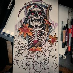 "100 Likes, 2 Comments - Rob steele (@robsteeletattoos) on Instagram: ""Sleeve design for next month #tattoo #tattoodesign #tattooart #grimreaper #grim #reaper #leaves…"""
