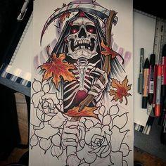 Sleeve design for next month #tattoo #tattoodesign #tattooart #grimreaper #grim #reaper #leaves #roses #art #design #drawing #sketch #tattooing #tattooed #tattoos #UK #uktattoo #uktta #neotradsub #neotraditional #newtraditional #neotrad #death #ink #tattooist