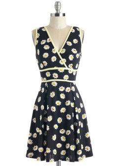 One True Lovely Dress. This black floral dress is filled with facets to adore! #black #modcloth