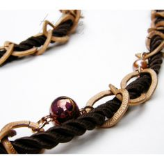 Brown Satin Cord & Chain Necklace #rope jewelry