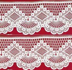 Crochet Edgings Design Crochet lace edging with point Crochet Bedspread Pattern, Crochet Edging Patterns, Filet Crochet Charts, Crochet Lace Edging, Crochet Curtains, Crochet Motifs, Crochet Borders, Irish Crochet, Crochet Designs
