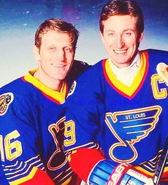 Brett Hull and Wayne Gretzky during the 1996 season when they both played for the St. Louis Blues. They didn't develop the chemistry everyone expected of them. Gretzky signed with the New York Rangers the next season. If you're wondering why I'm writing all of this, it's because I'm procrastinating like a champ.