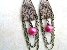 dragonfruit pearl chandelier earrings