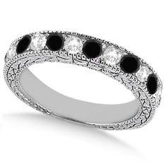 Antique White & Black Diamond Wedding Ring Band 14k White Gold (1.05ct)