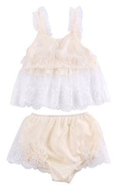 Amazon.com: 2pcs Toddler Infant Baby Girl Clothes Lace Floral Tops+Bottoms Briefs Outfit Set: Clothing