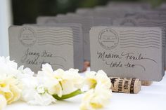 Cute custom stamp - used on the escort cards!    Photography by narrativeimage.com/