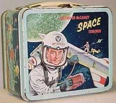 I am not sure if I can convey to you how exciting it was for me to have a lunch box and use it. These vintage lunch boxes - are what I used. Lunch Box Thermos, Vintage Lunch Boxes, Cool Lunch Boxes, Metal Lunch Box, Vintage Tins, Vintage Style, Space Tv Shows, 1960s Toys, 1980s
