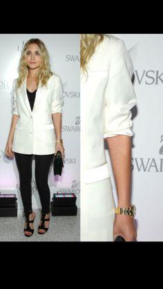 Olsen twin wearing hers Tuxedo style