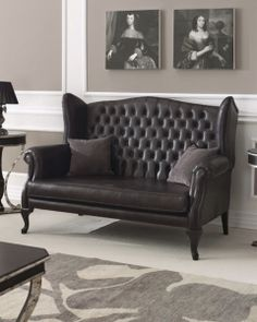 Queen Anne Chesterfield buttoned high back wing sofa