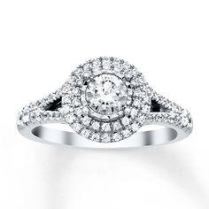 Diamond Engagement Ring 7/8 ct tw Round-cut 14K White Gold