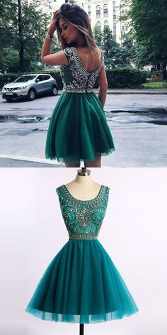 Long Prom Dresses , Chic Turquoise / Hunter Homecoming Prom Dress - Short Scoop Cap Sleeves with Beading