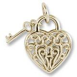 Gold Charm.  3 Dimensional Heart and Key Charm has a filigree design on the front and back. Every piece is hand finished. Style # 8365.  See more Gold Valentine Charms at http://www.charmnjewelry.com//search/n250/valentine.aspx