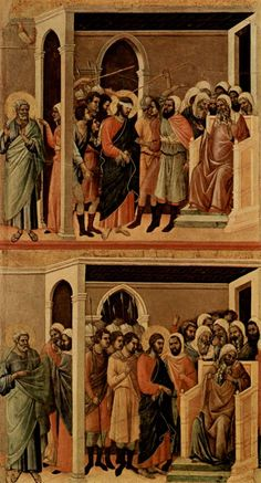 Duccio di Buoninsegna: Maestà, Altarretabel des Sieneser Doms, Rückseite, Hauptregister mit Szenen zu Christi Passion, Szenen: Verspottung Christi und Christus vor Kaiphas