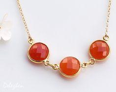 Orange Carnelian Necklace  Three stone necklace  Bezel by delezhen