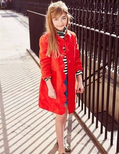 Ella, fall shoot all brights option.  love it open and paired with stripes like shown.  maybe with a chord shorts option over tights adn booties.  Velvet Sixties Coat 35125 Coats at Boden