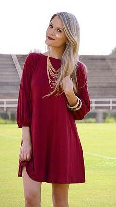Basic Swing Dress, Crimson :: NEW ARRIVALS :: The Blue Door Boutique