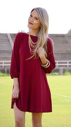 Basic Swing Dress, Crimson :: NEW ARRIVALS :: The Blue Door Boutique