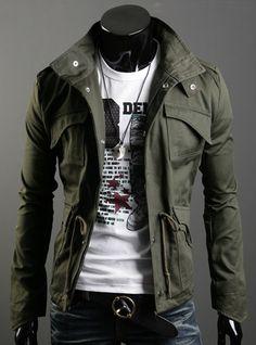 new 2014 men's jacket military Zip Jacket