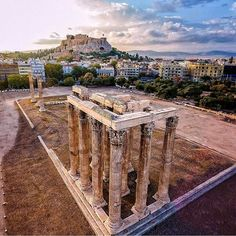 View of the Acropolis of Athens as seen from the Temple of Zeus My Athens, Athens Hotel, Attica Greece, Athens Greece, Ancient Ruins, Ancient Greece, Time Photography, Travel Photography, Ancient Greek Theatre