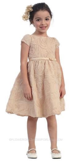 SK_266 - Flower Girl Dress Style 266 - Short Sleeved with Gorgeous Netted Floral Pattern - Taupes and Champagnes - Flower Girl Dress For Les...
