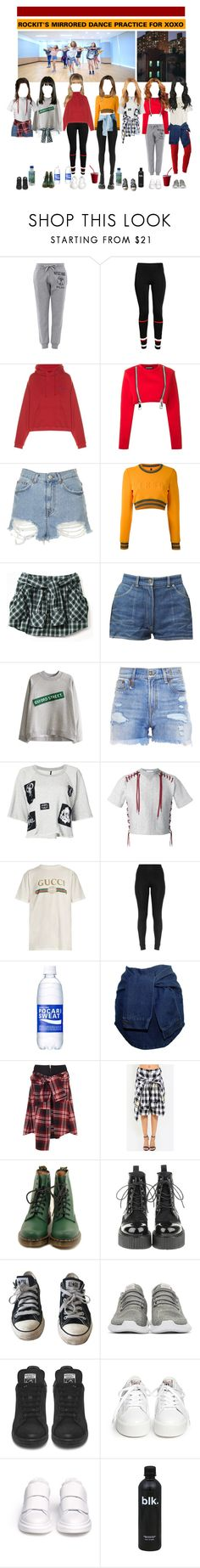 """«MIRRORED DANCE PRACTICE» ROCKIT (XOXO)"" by cw-entertainment ❤ liked on Polyvore featuring Moschino, Givenchy, Vetements, Nicopanda, Topshop, Versus, R13, Unravel, Facetasm and Gucci"