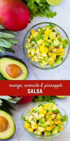 Mango Avocado Salsa is the perfect topping to any taco or salad, and it's irresistible piled up on a chip! You'll love the creamy avocado, sweet mango, and tart pineapple in every bite! Get the fun recipe on RachelCooks.com! via @rachelcooksblog