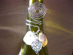 Wine Bottle Heart Locket Topper Seaglass Locket by SamiSeaglass