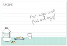 free recipe card - from Creature Comforts