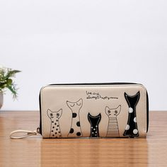 Women Cat Cartoon Wallet Long Creative Female Card Holder Casual Zip Ladies Clutch PU Leather Coin Purse ID Holder