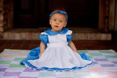 Custom Alice in Wonderland Dress with Pinafore in Baby or Toddler Sizes