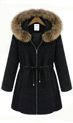 Cute Cheap Woolen hooded coat #ahaishopping