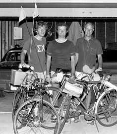 Despite lightning on the horizon, three Ames men pedaled north at 5:30am on July 10, 1974, on a good-natured endurance test. Initiated by the challenge of youth versus maturity, the destination of the 180-mile trip was Lake Okoboji in northwest Iowa. The trio (from left) comprised Dr. Marvin Freeburg, Don Good, and George Kuehl. They made it to Rockwell City at 2:30pm after pedaling through the afternoon heat and humidity. Ames Tribune photo published July 12, 1974. For more historical…