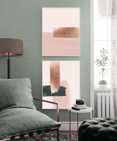 Blush Living Room, Copper Living Room, Living Room Green, Green Rooms, Living Room Decor, Copper Bedroom Decor, Mint Living Rooms, Dusty Pink Bedroom, Sage Green Bedroom