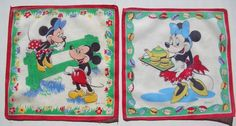 vintage Walt Disney Productions Mickey Mouse & Minnie Mouse childrens hankies  #Disney #Handkerchiefs