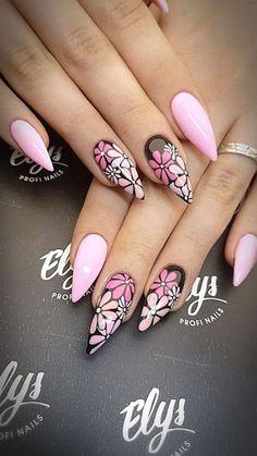 Cute Nails, Pretty Nails, My Nails, Fabulous Nails, Gorgeous Nails, Acrylic Nail Designs, Nail Art Designs, Flower Nails, Nail Swag