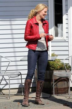Jennifer Morrison Photos Photos: 'Once Upon a Time' Films in Vancouver Jennifer Morrison, Once Upon A Time, Leather Jacket Outfits, Piece Of Clothing, Clothing Styles, Emma Swan, Child Models, Captain Swan, Captain Hook