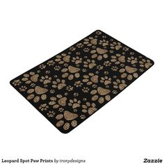 Leopard Spot Paw Prints Floor Mat Leopard Spot Paw Prints Clutch Leopard Skin Design made with brown leopard spots inside the big cat paw prints on a black colored background. Elegant wild cat lover and pet lovers design with the leopard pattern print.