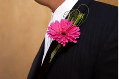Gerbera boutonniere with bear grass.  Just needs hypericum to complete!