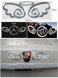 Free shipping 3D Devil Angel Wing Decal Sticker Car Emblem For Benz Mercedes Buick Roewe VW Nissan Toyota Ford Mazda $2.39