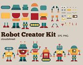 buy 2 get 1 free Cute Robots Creator Kit clip art for personal and commercial use ( robot clipart ) INSTANT DOWNLOAD