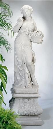 Apollo Statuary : Persephone by Henri Studio - Statuary Pedestals Benches And Table Sets Outdoor Decor Accessories Birdbaths Planters Fountains Color Sampler Set Of All Plaques statues, statuary, statue, garden, urn Stone Fountains, Garden Fountains, Garden Statues, Garden Sculpture, Persephone Pomegranate, Water Garden Plants, Mediterranean Garden, Aquatic Plants, Water Lilies