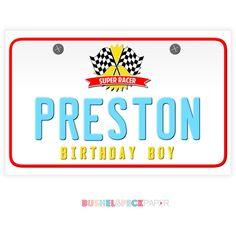 Race Car Paper License Plates by BushelandPeckPaper on Etsy https://www.etsy.com/listing/237501535/race-car-paper-license-plates