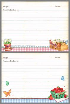Recipe Book Templates, Cookbook Template, Printable Recipe Cards, Printable Labels, Daily Planner Pages, Daily Planner Printable, Scrapbook Recipe Book, Planner Organization, Organizing Labels